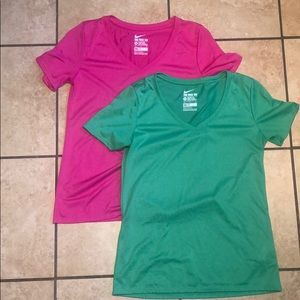 Two v neck Nike fitted dri fit tops M